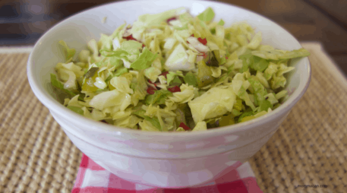 Cherry Pepper Pickle Slaw Recipe | Hotdog and Burger topper for picnics. | Mommacan.com