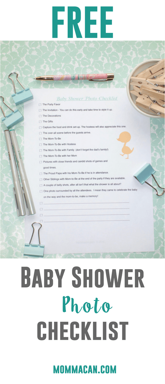 Grab your FREE Printable Baby Shower Photo Checklist