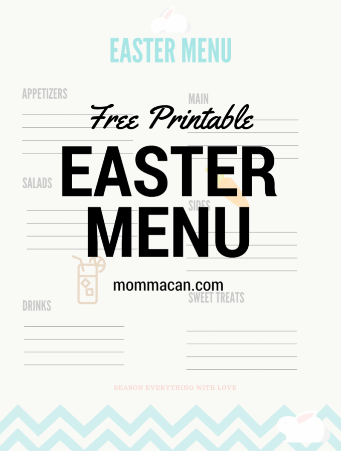 Easter Menu Printable  and My Non-Traditional Easter Dinner