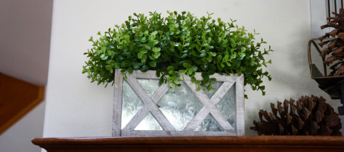 Green Foliage with Metal and White Wood container