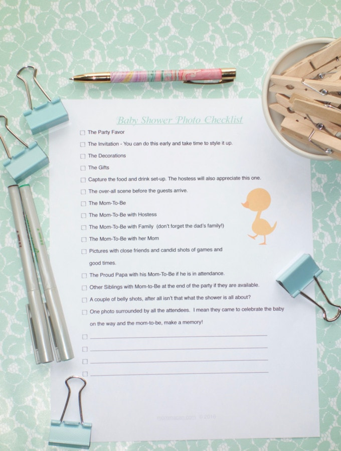 Free Printable Baby Shower Photo Checklist