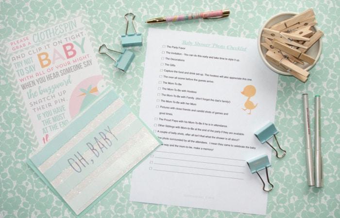 Baby Shower Photo Checklist