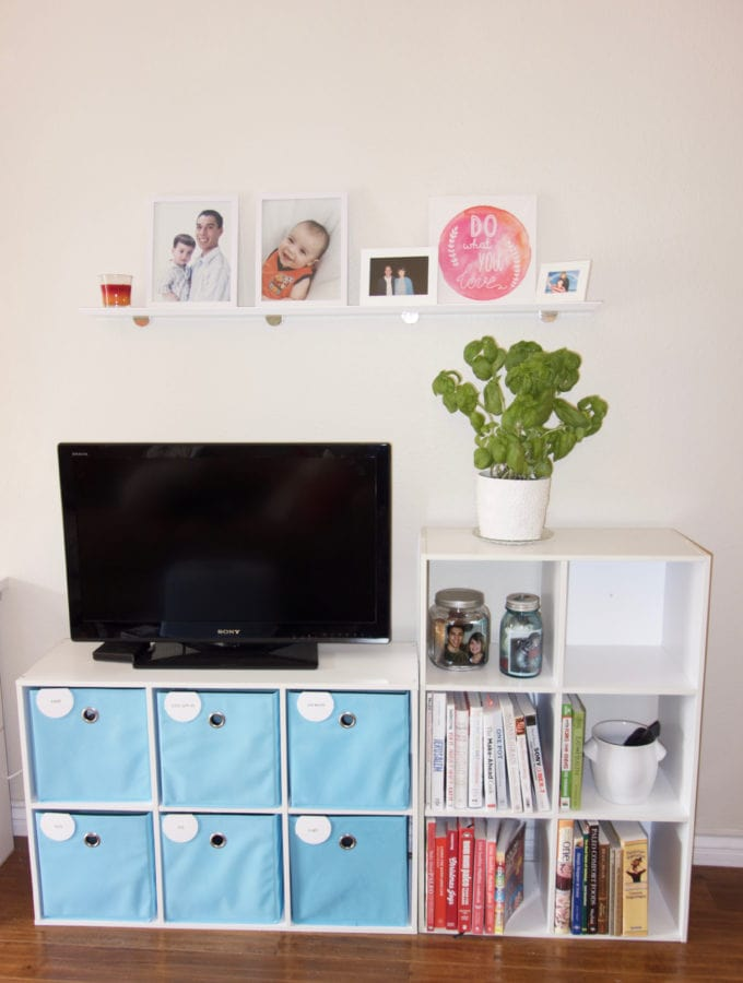 Six Cube Shelf Media Center with Basil Plan and Floating Shelf