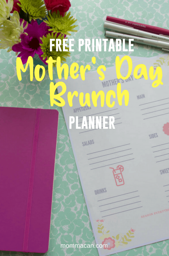 Mother's Day Brunch Menu Planner Free Printable #free #mother'sday