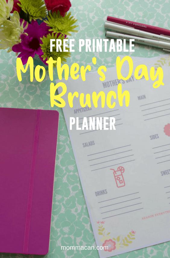 Mother's Day Brunch Menu Planner Free Printable