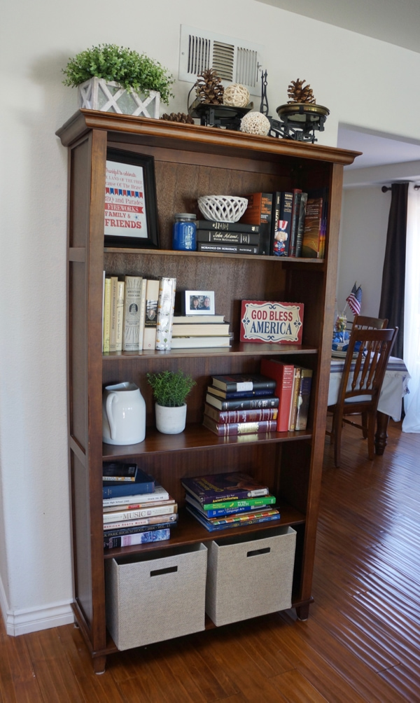 4th Of July Decorations - Style Bookcase- - Red White and Blue fun.