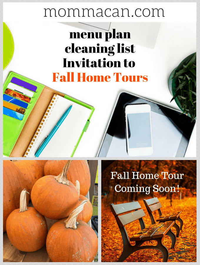 Fall Home Tour Invitation. Join Momma and many other bloggers on a journey of whimsical autumn and diy Fall delights. Look for the posts mid September.