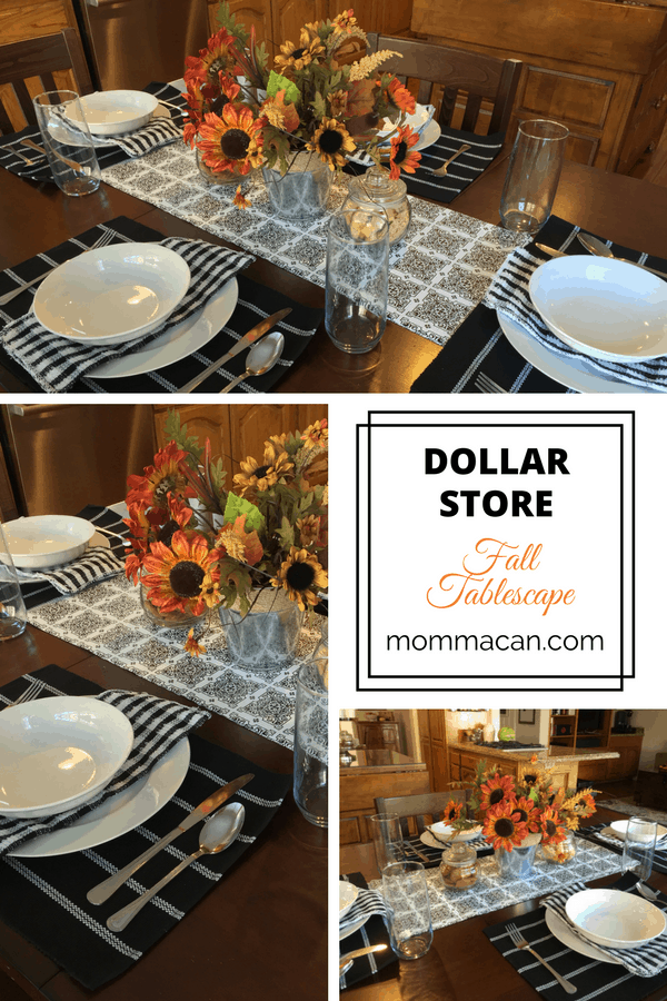 Loved this dollar store fall tablescape. The entire table, dishes and all, cost 35 dollars!
