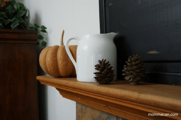 festive-fall-home-tour-2016-fireplace-mantle-with-farmhouse-style-white-pitcher-and-pumpkins-mommacan-com