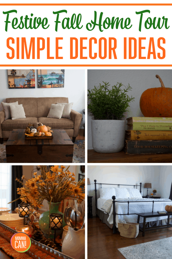 Visit our Festive Fall Home Tour - Simple Decorating ideas for Home Interiors and entryway for fall decorating.