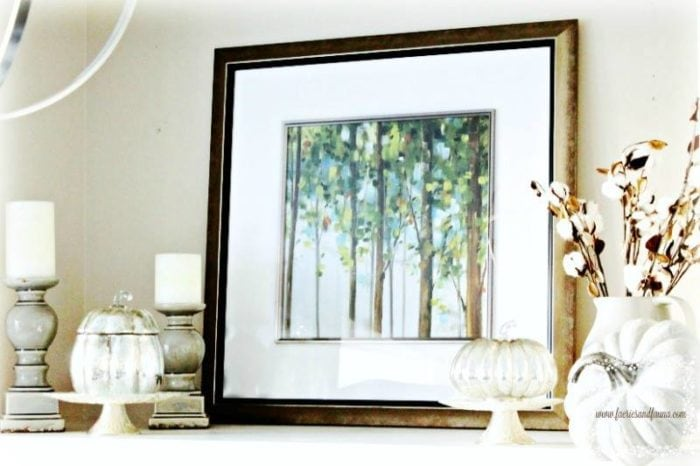 Fall Vignette - White with framed art