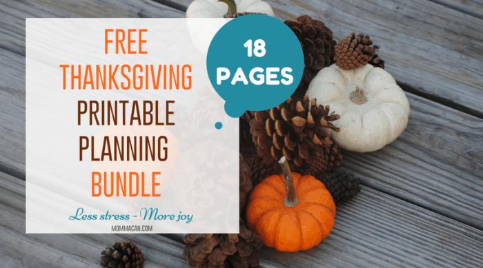 Free Thanksgiving Printable Planning Bundle