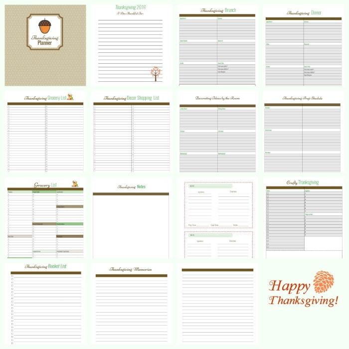 16 Free Thanksgiving Planning Printables