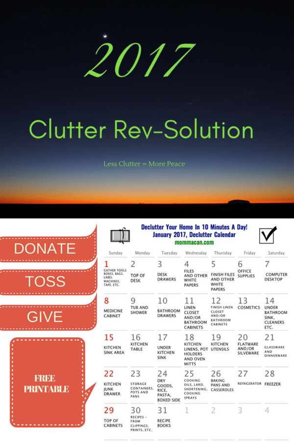 January Declutter Calendar – Clutter Rev-solution