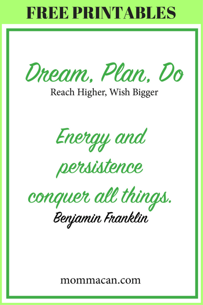 FREE PRINTABLES to help turn your dreams into GOALS!
