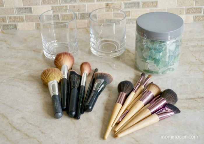 Glass Makeup Brush Holder with beautiful Sea Glass