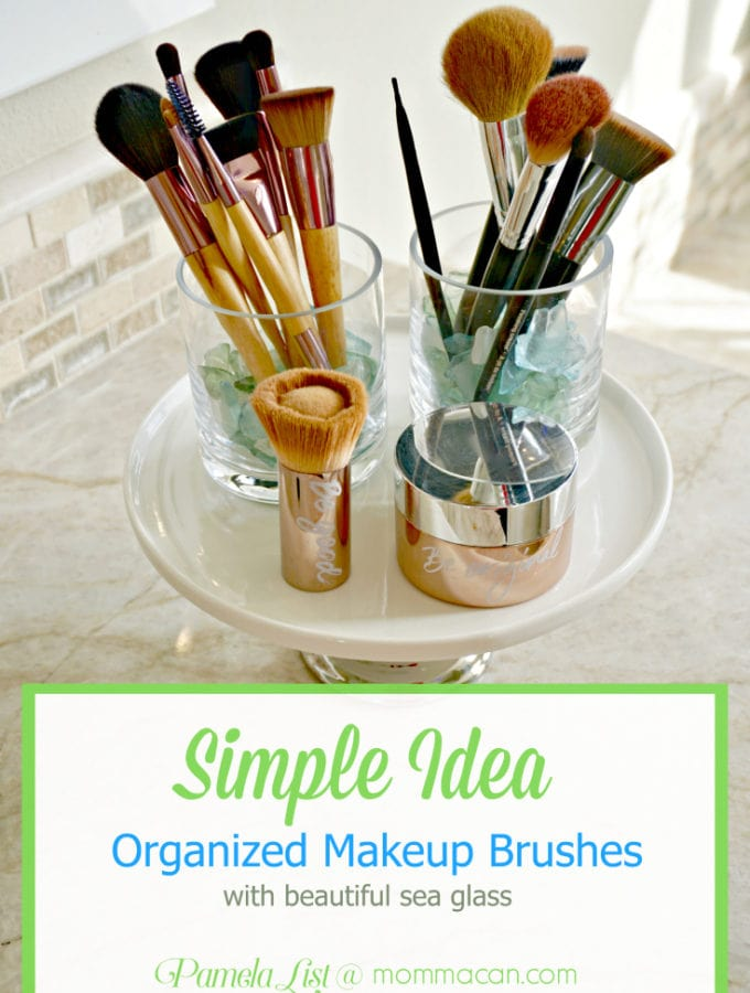 Organized Makeup Brushes with glass holder and sea glass