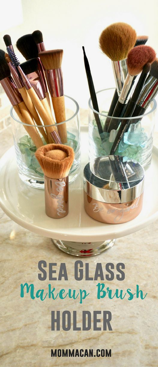 Learn how to make this beautiful makeup holder. A simple DIY Glass Makeup Brush Holder filled with gorgeous seaglass #makeupbrush