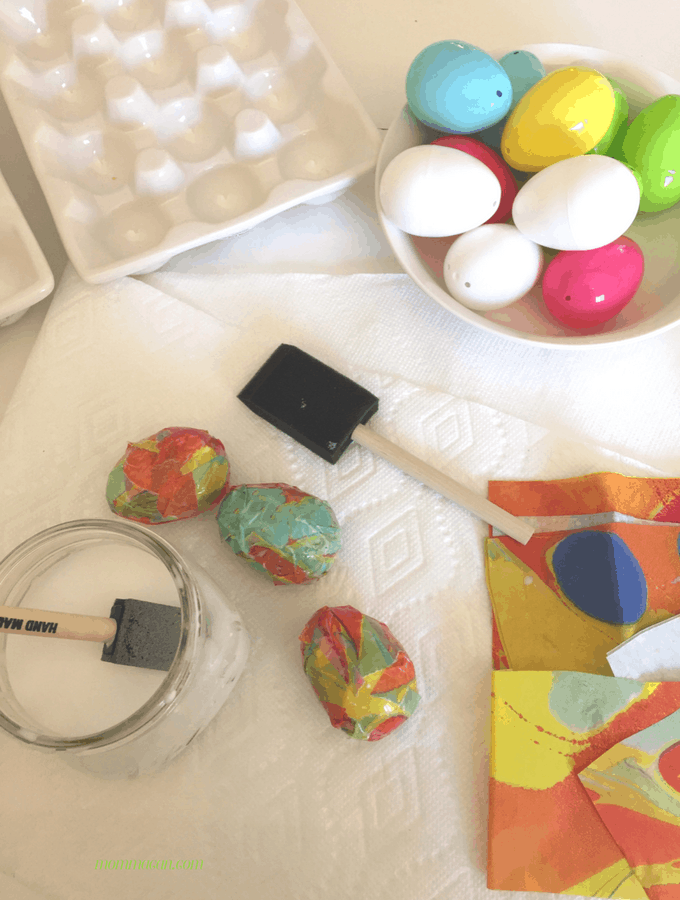 Easter Egg Paper Mache Easy Craft using Elmer's Glue and Tissue Paper