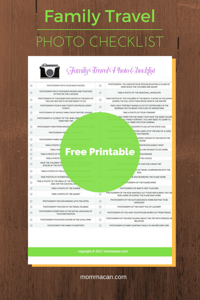 Snag your free printable Family Travel Photo Checklist here.