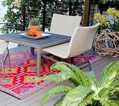 This patio rug is sure to make you guests smile.