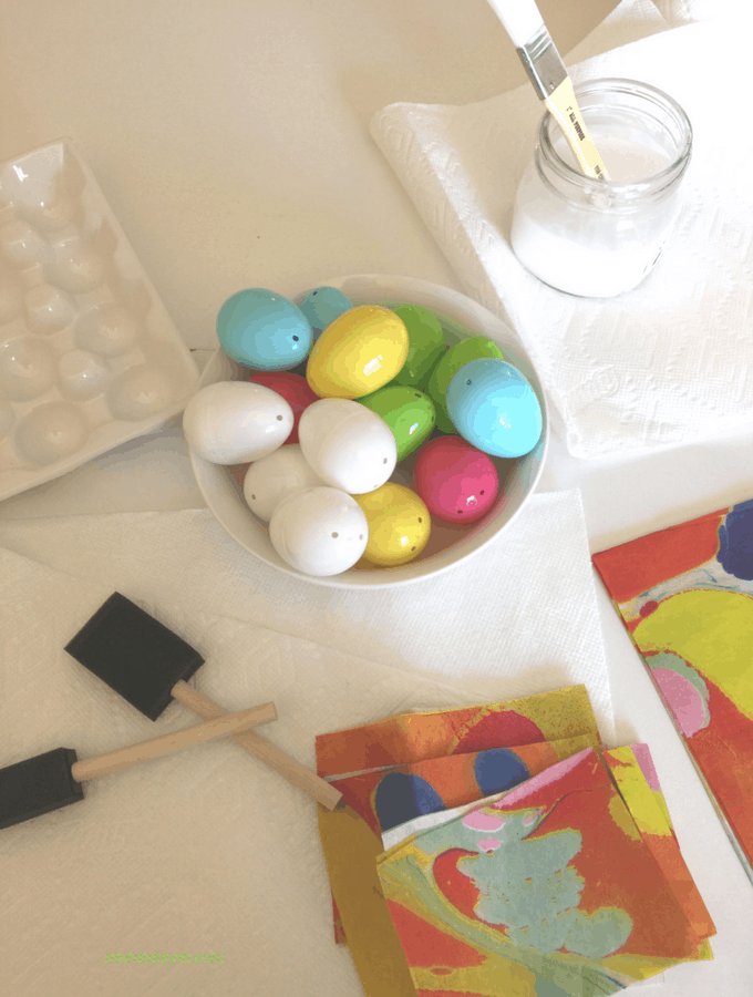 Gather your supples and mix up the paper mache adhesive. We are making beautiful Easter Eggs!