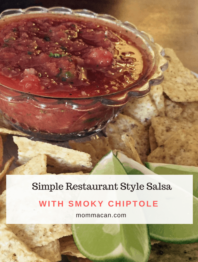 Grab this seriously tasty recipe and a bag of chips. It is a Smoky Fiesta Salsa that you are going to love! Simple Restaurant Style Salsa with Smoky Chipotle