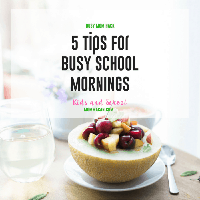 Grab these 5 tips for Busy School Mornings