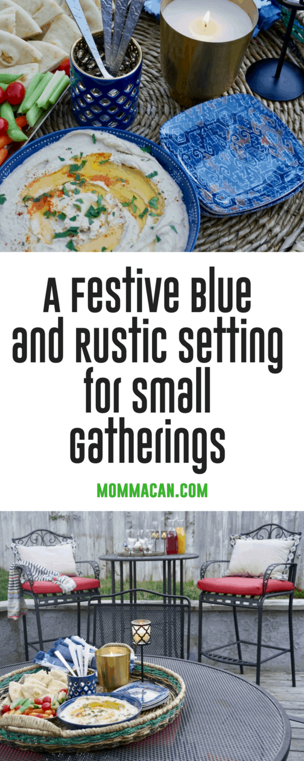 Take a peek at this simple Rustic and Blue gathering. Adding a few items from the inside to the outside makes outdoor gathering a snap!