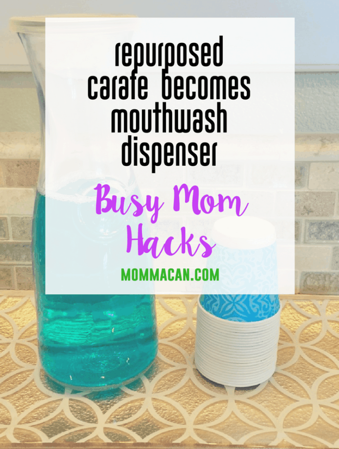 Repurposed Carafe Becomes Mouthwash Dispenser