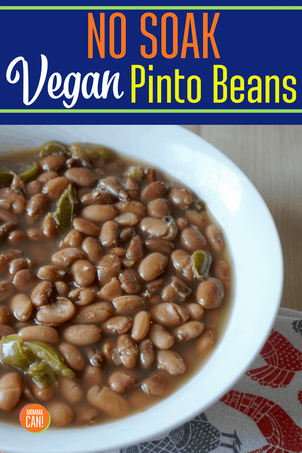 This No Soak Vegan Pinto Bean Recipe is awesome because it uses kitchen tools you have on hand. No need to purchase expensive Instant Pots or complicated new and improved slow cookers. Use what you have! Read the recipe now!