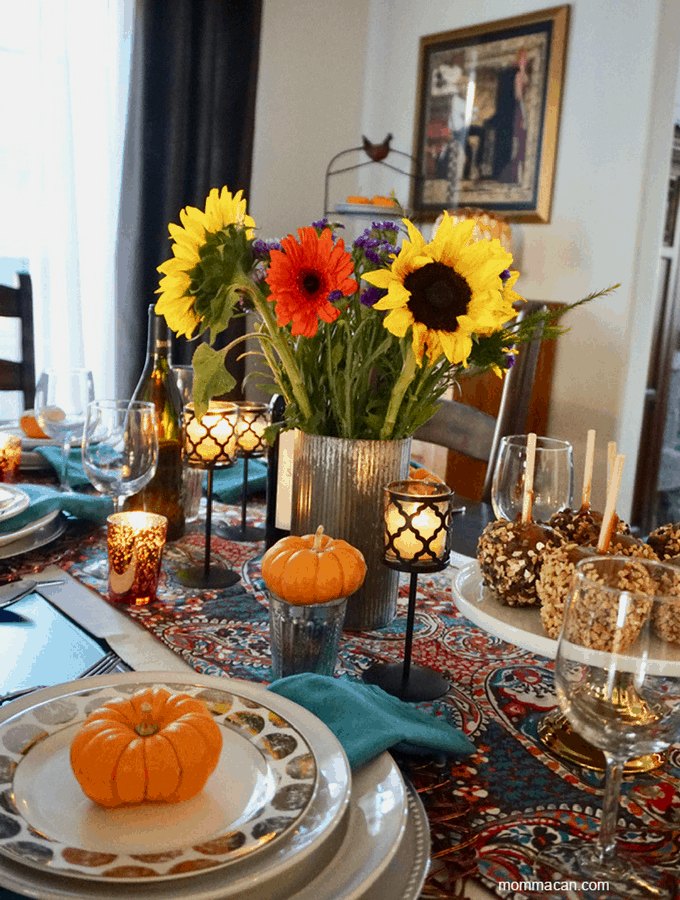 BOHO Traditional Colorful Fall Tablescape