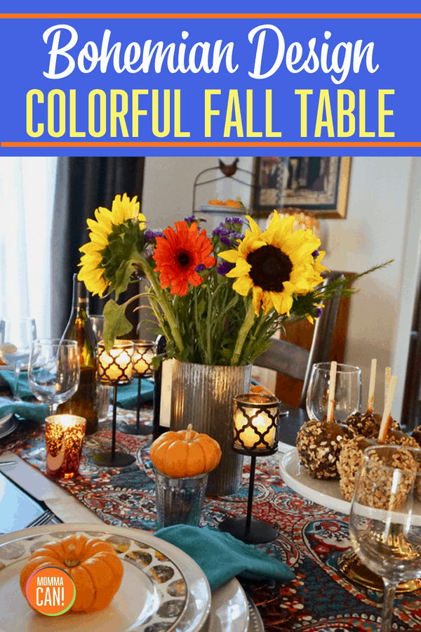 Bohemian Traditional Colorful Fall Table Scape, so beautiful and easily made with bargain finds from your favorite stores.