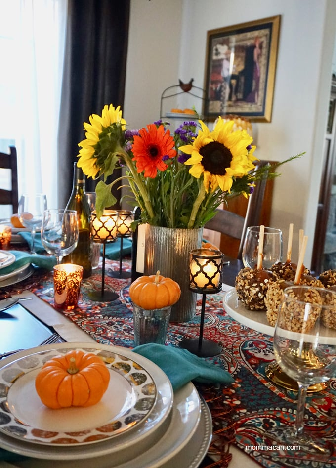 BOHO Traditional Colorful Fall Tablescape Sunflower Bouqhet and Orange pumpkins