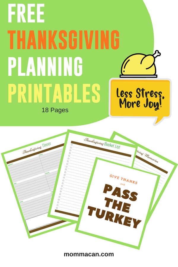 Free Thanksgiving Planning Printables