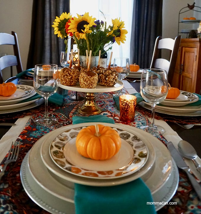 colorful fall tablescape turqouise and orange
