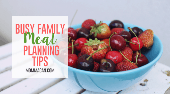 Busy Family Meal Planning Tips