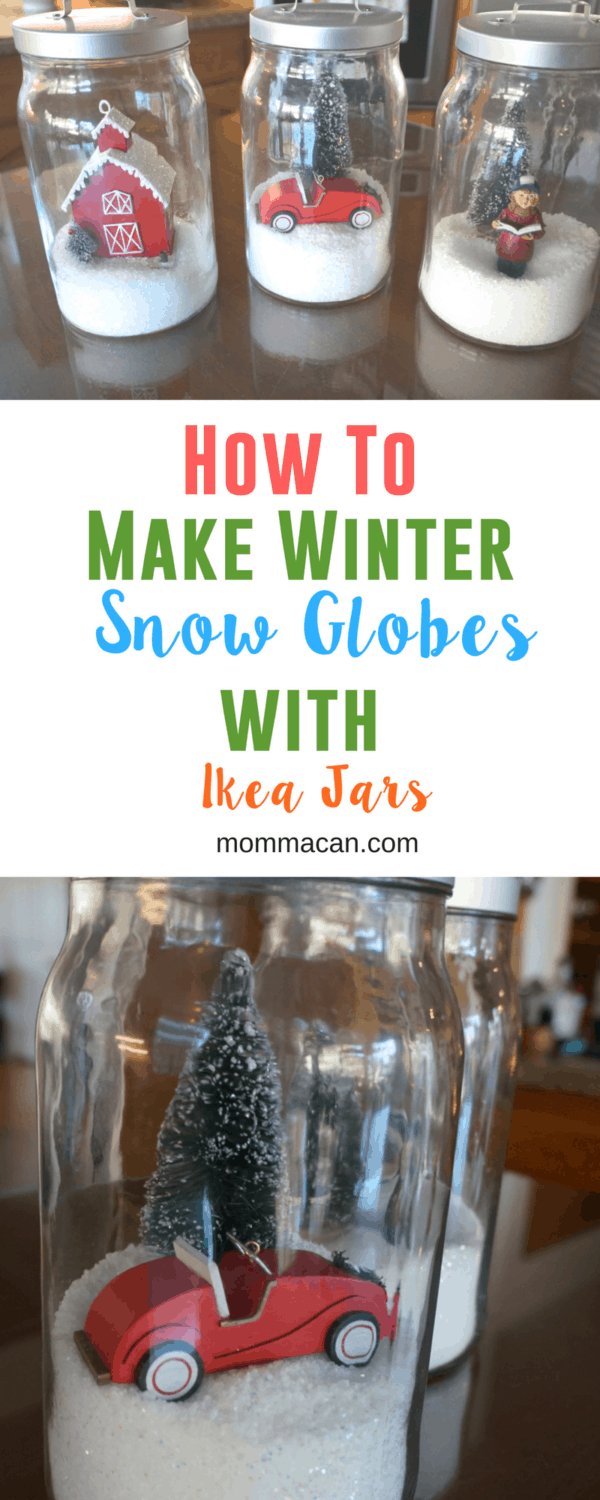 How To Make Winter Snow Globes With Ikea Jars, simple craft for busy moms that the whole family can enjoy and create! #snowglobe #christmas #winterdecor