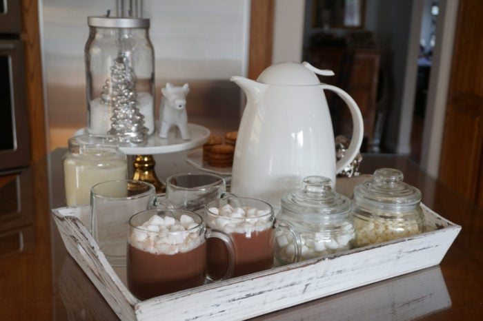 Simple White Winter Theme Hot Cocoa Bar - Learn How To Make A Hot Cocoa Bar