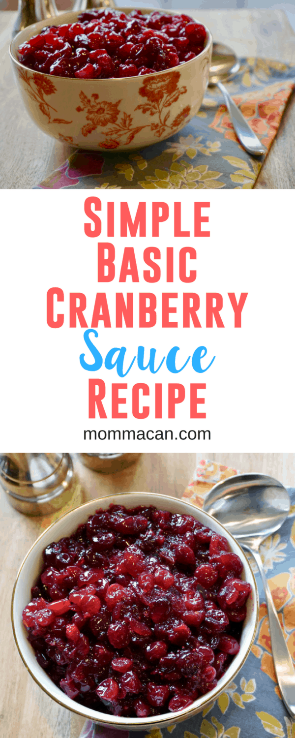 Look no further for the Best Cranberry Sauce Recipe Ever! This easy and delicious recipe takes only a few minutes to make and a handful of ingredients! The simple ingredients let the cranberries shine! It is the perfect combination of sweet and tart! The perfect complement to your holiday meal! - Momma Can #Thanksgiving #Christmas #cranberry #sauce #recipe