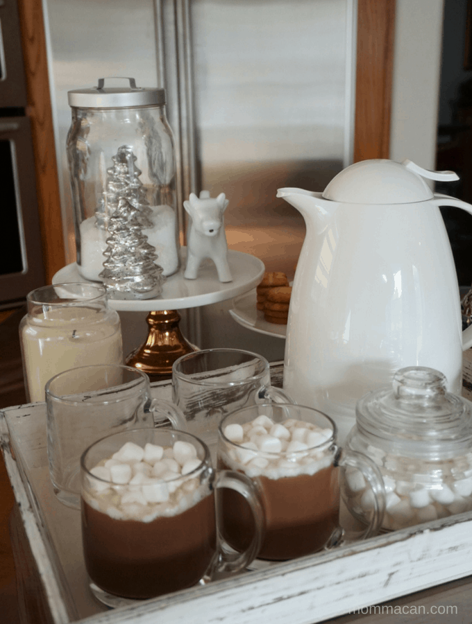 Simple White Winter Theme Hot Cocoa Bar