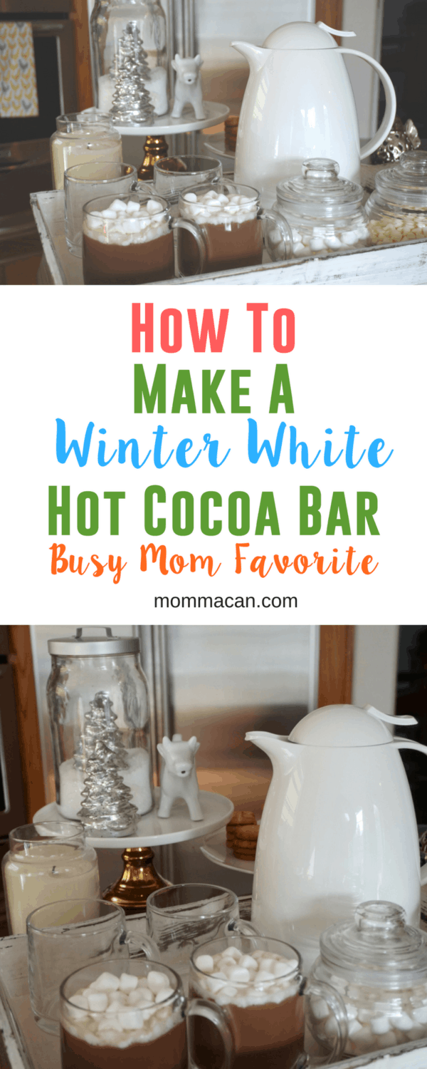Learn how to make a simple Simple White Winter Theme Hot Cocoa Bar to wow your guests. A busy mom favorite in entertaining. #hotcocoabar #hotchocolate #busymom
