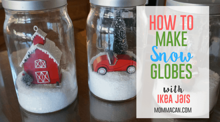 Winter Snow Globes With Ikea Jars