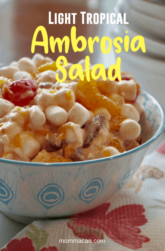 Light Tropical Fruit Ambrosia Salad Recipe, delicious light and creamy from pantry staples. #fruitsalad #ambrosia