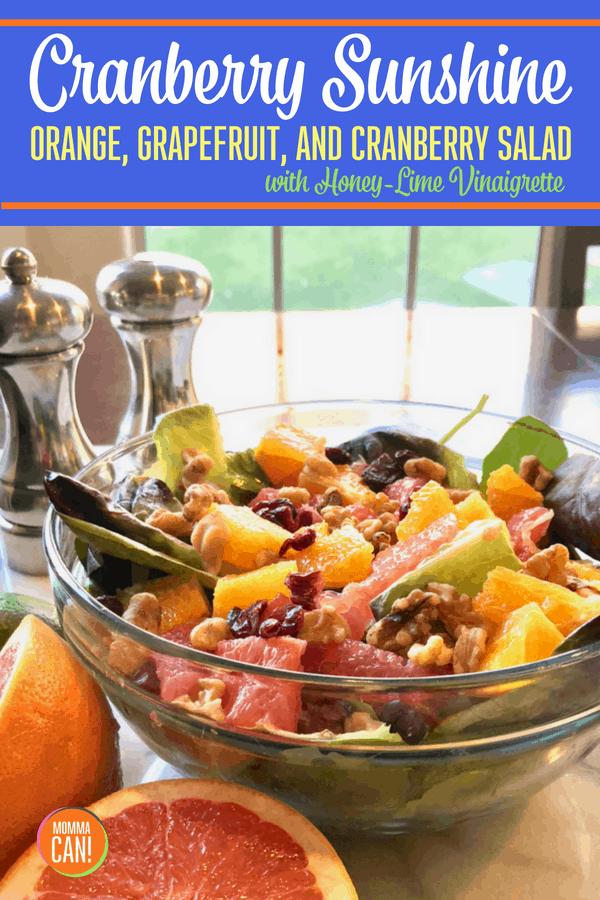 Cranberry Sunshine Salad with Honey Lime Vinaigrette
