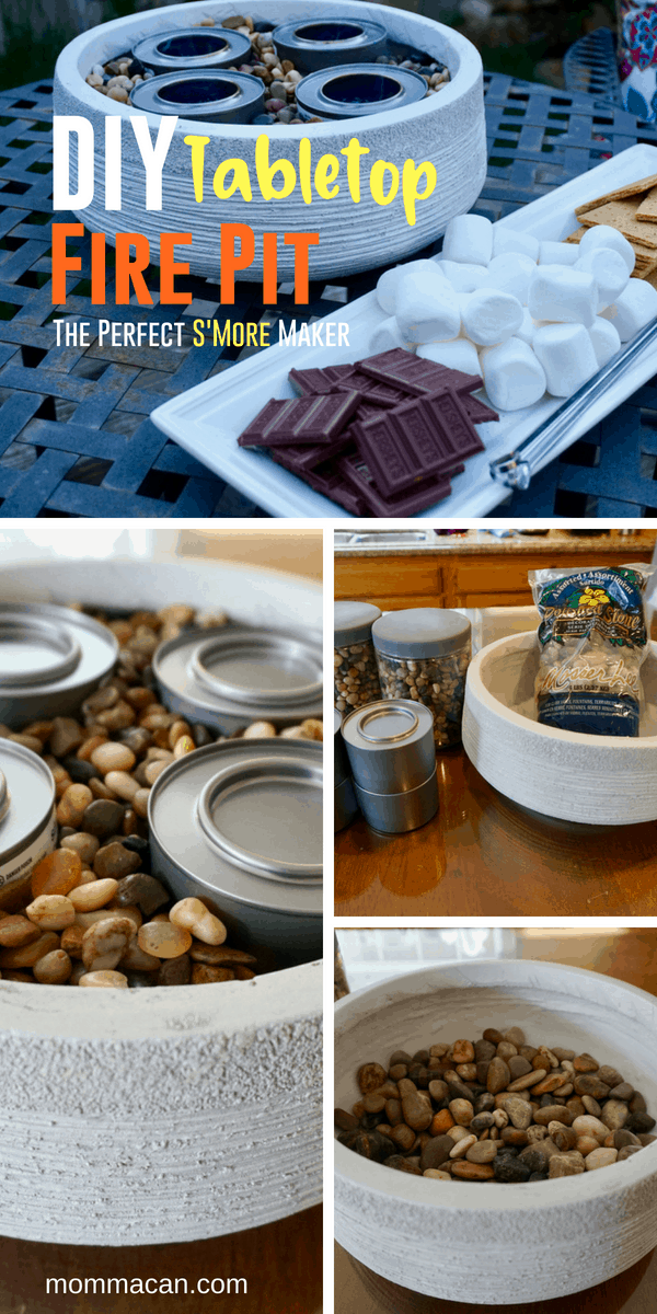 DIY Outdoor Tabletop Fire Pit - Toast Marshmallows and make awesome s'mores with this DIY Tabletop Fire Pit #firebowl #s'mores