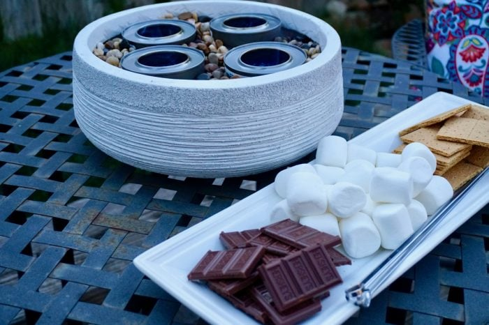 Tabletop Fire Pit DIY to make smores | Mommacan.com