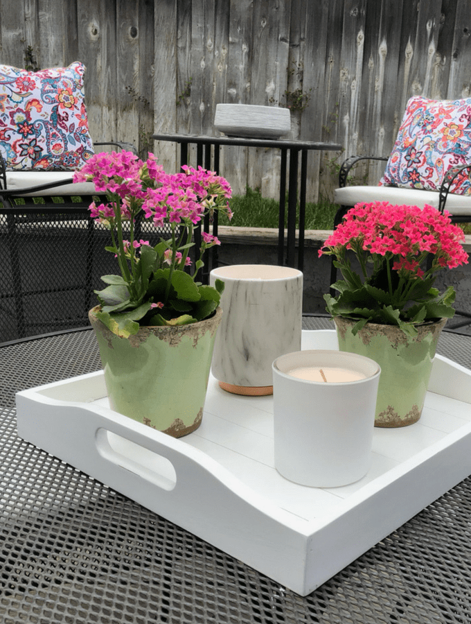 Summer Patio Dressed in Hot PInks and Blues and Patio Container Ideas for Summer