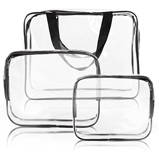 3Pcs Crystal Clear Cosmetic Bag TSA Air Travel Toiletry Bag Set with Zipper |Travel Cosmetic Bags