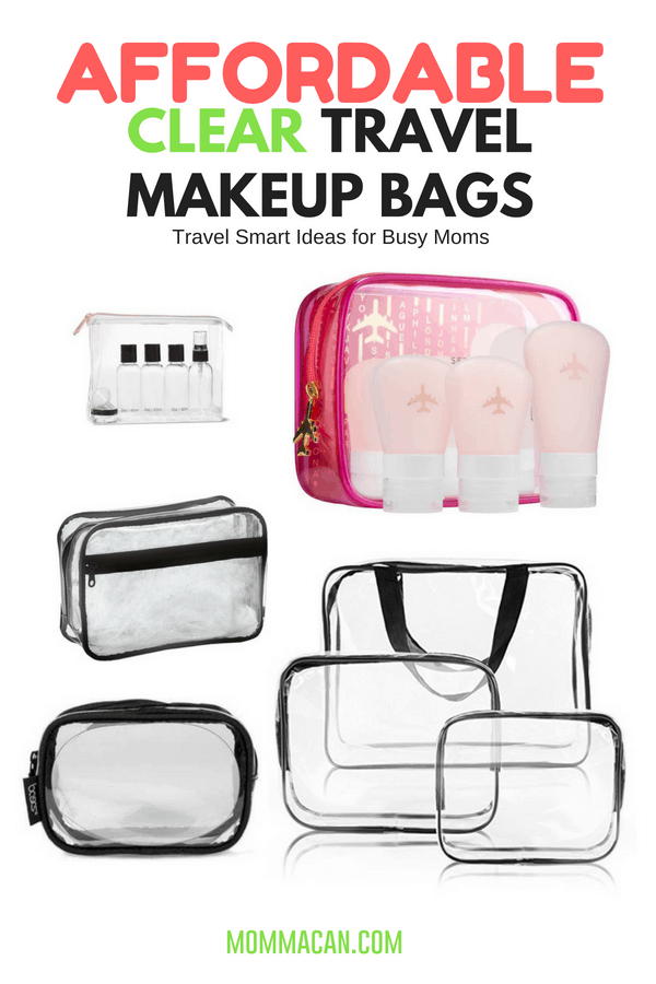 Affordable Clear Travel Makeup Bags | Clear Vinyl Cosmetic Travel Bag Ideas for the busy mom who loves to pack-organized.